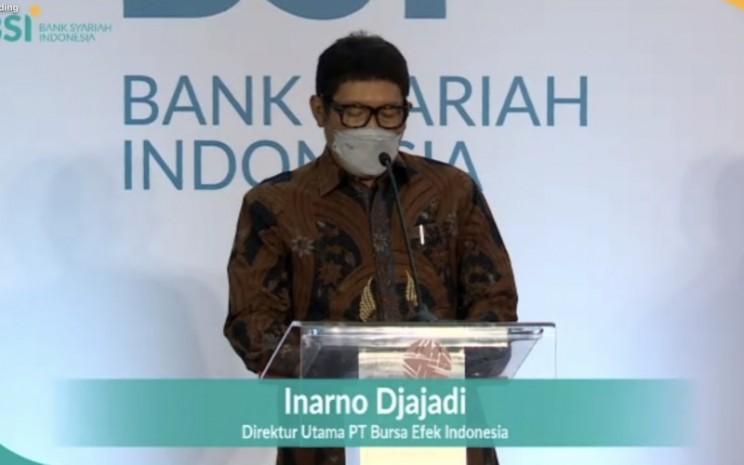 Direktur Utama PT Bursa Efek Indonesia Inarno Djajadi saat memberikan sambutan dalam acara perkenalan PT Bank Syariah Indonesia Tbk., Kamis (4/2/2021). - Istimewa