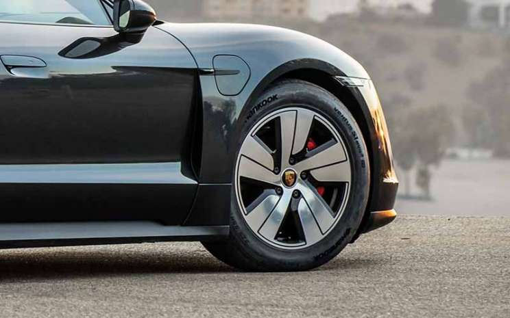 Hankook supplies special e-tires for Porsche Taycan electric sports cars.  - Hankook Tire