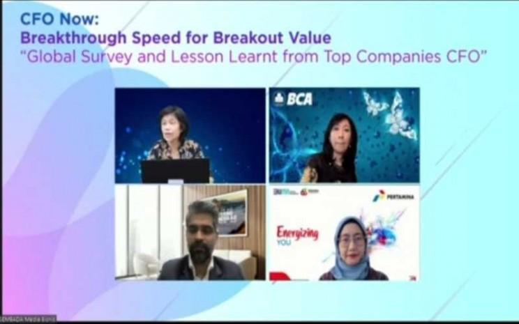 Survei CFO global dan Indonesia tersebut dipresentasikan oleh Raghvendra Singh, Managing Director Accenture-CF & EV Lead for Southeast Asia, dalam webinar yang diselenggarakan oleh SWA Media Group. - Istimewa