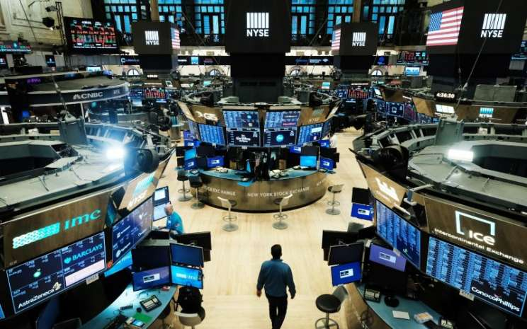 Aktivitas perdagangan saham di New York Stock Exchange, Selasa (1/9/2020). - Bloomberg