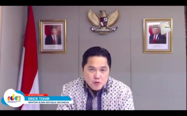 Menteri BUMN Erick Thohir ketika memberikan paparan dalam Indonesia Digital Conference 2020 yang diadakan secara daring, Rabu (16/12/2020). - Istimewa