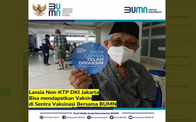 Lansia Non-KTP DKI kini bisa mendapatkan vaksin Covid-19 di Sentra Vaksinasi Bersama BUMN di GBK Senayan  -  Twitter @KemenBUMN
