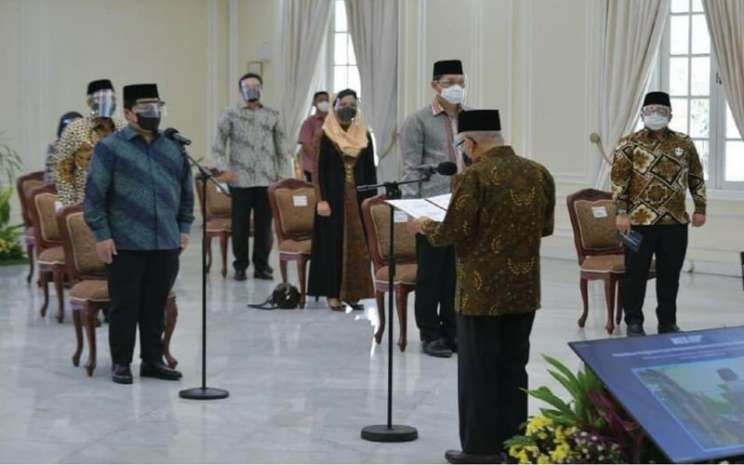 Wakil Presiden RI Ma'ruf Amin melantik Pengurus Pusat Masyarakat Ekonomi Syariah (MES) Periode 2021-2023 pada Senin (22/3/2021).  - Istimewa