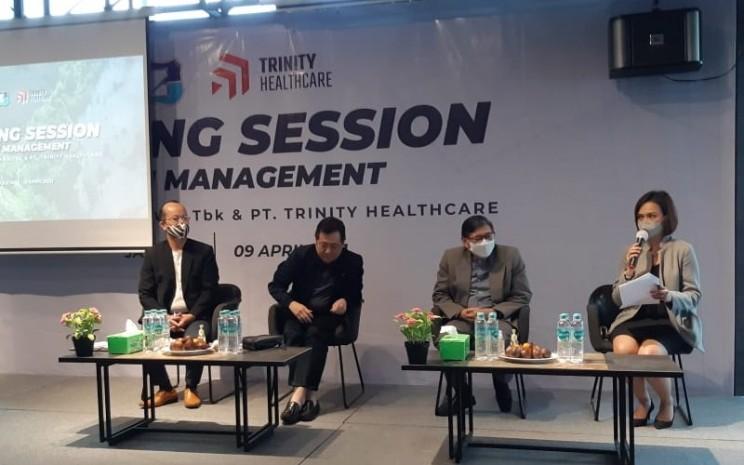 Manajemen PT Trinity Healthcare (THC) dan PT Zebra Nusantara Tbk. (ZBRA) menyampaikan strategi bisnis ke depan.  - Ika Fatma/Bisnis.