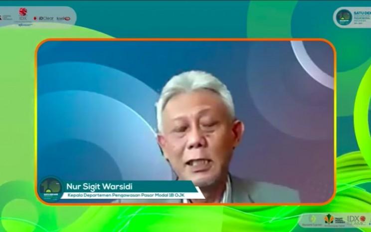 Kepala Departemen Pengawasan Pasar Modal 1B OJK Nur Sigit Wahyudi dalam Seminar pasar Modal Syariah - Back to The Future, yang diadakan secara virtual, Senin (12/4/2021). - Istimewa