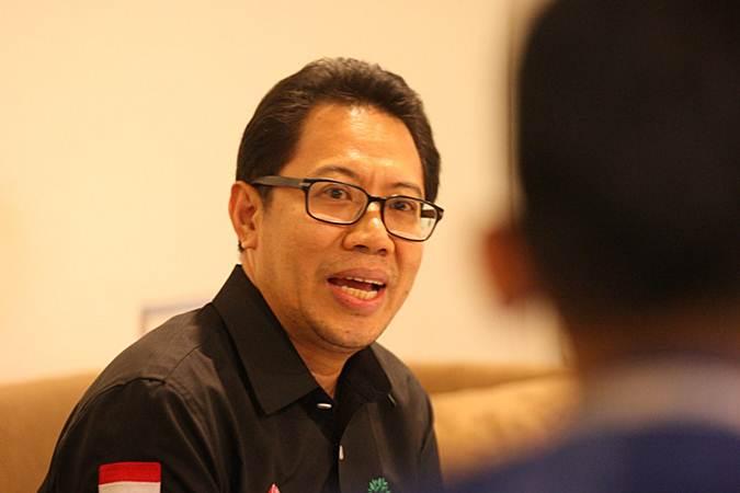Direktur PT Bursa Efek Indonesia (BEI) I Gede Nyoman Yetna memberikan penjelasan terkait Progress Listing 2019 di Jakarta, Jumat (29/3/2019). - Bisnis/Dedi Gunawan