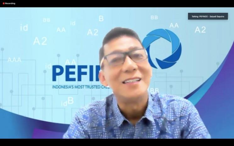 Direktur Utama Pefindo Salyadi Saputra ketika paparan dalam Pefindo Media Forum yang diadakan, Kamis (17/12 - 2020).