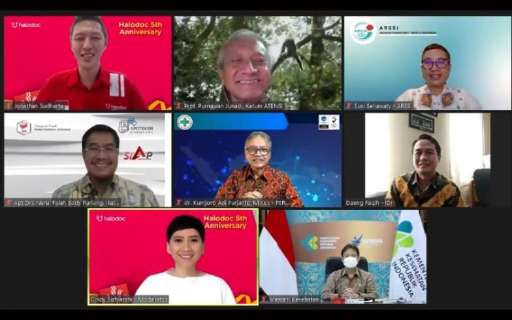 Konferensi pers virtual 5 tahun Halodoc, Rabu (21/4/2021).  - Bisnis.com/Syaiful Millah