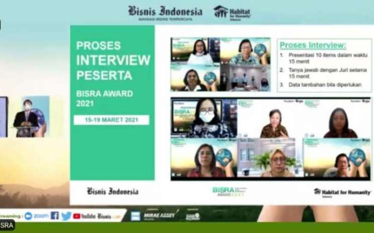 Tangkapan layar acara Bisnis Indonesia Corporate Social Responsibility Award (BISRA) 2021