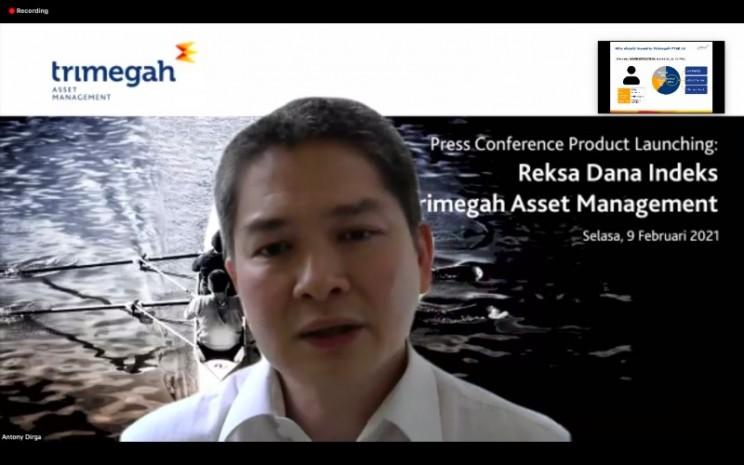 Direktur Utama Trimegah AM Anthony Dirga dalam press conference Trimegah FTSE Indonesia Low Volatility Factor Index, Selasa (9/2/2021). - Bisnis/Dhiany Nadya Utami