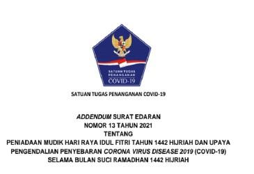 Link Download Addendum SE Satgas No 13/2021 tentang Larangan Mudik