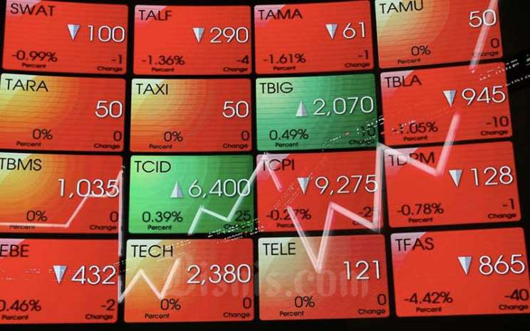Papan elektronik yang menampilkan pergerakan indeks harga saham gabungan (IHSG) di Bursa Efek Indonesia, Jakarta, Senin (22/3/2021). Bisnis - Eusebio Chrysnamurti