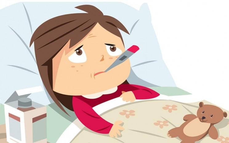 Seorang anak sedang demam. Kini demam menjadi gejala infeksi virus corona atau Covid-19 - istimewa
