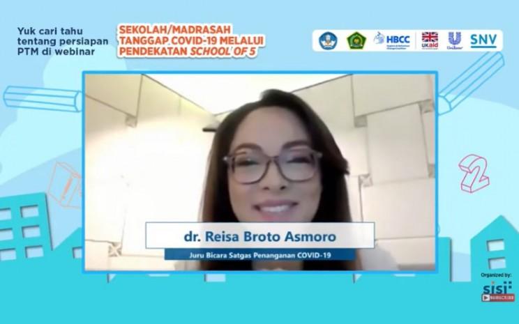 Juru Bicara Satgas Penanganan Covid-19, Reisa Broto Asmoro mengatakan dibukanya PTM terbatas membutuhkan komitmen bersama.  - Jubir Satgas COvid/19