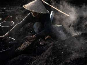 Pembuatan Arang Kayu Secara Tradisional di Karawang