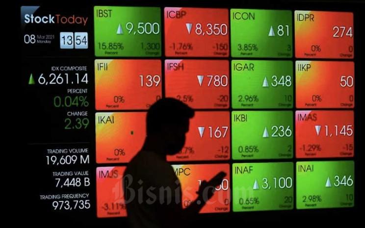Karyawan melintas di dekat papan elektronik yang menampilkan pergerakan Indeks Harga Saham Gabungan (IHSG) di Bursa Efek Indonesia, Jakarta, Senin (8/3/2021). Bisnis - Abdurachman