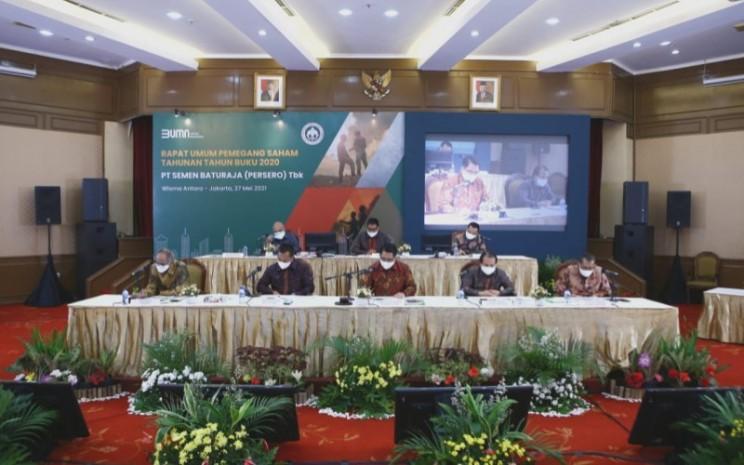 Emiten semen PT Semen Baturaja (Persero) Tbk. menyelenggarakan Rapat Umum Pemegang Saham Tahunan (RUPST) di Wisma Antara, Jakarta Pusat, hari ini Kamis (27/5/2021). - Dwi Nicken Tari