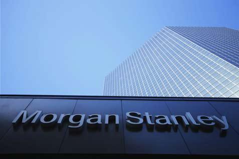 Logo perusahaan Morgan Stanley kantor di San Diego, California.  - Reuters