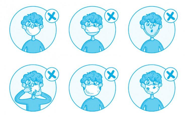 Dari kiri ke kanan : jangan menarik di bawah hidung; jangan biarkan dagu terbuka; jangan menarik ke bawah dagu; jangan menyentuh topeng saat memakainya; jangan memakai topeng longgar; jangan memakai masker yang kotor, rusak, atau basah.  - Unicef