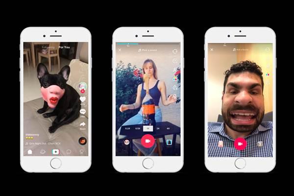 Antarmuka aplikasi berbagi konten video TikTokb