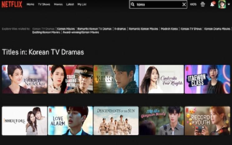 Deretan serial atau drama korea di situs streaming film Netflix  -  sumber: tangkapan layar Netflix