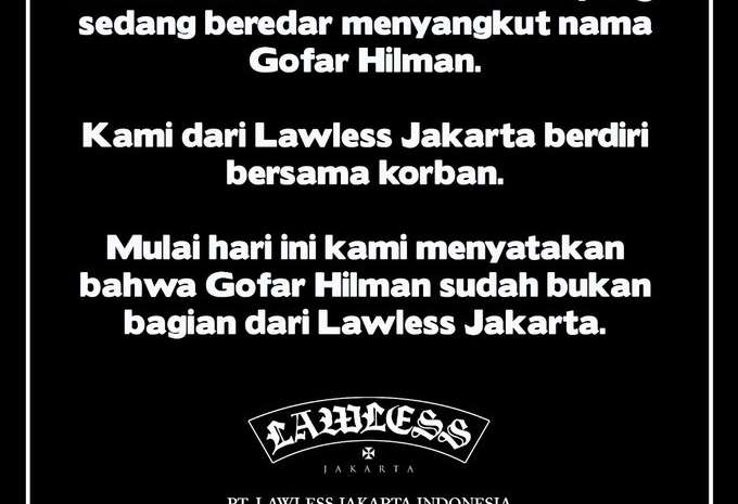 Pernyataan resmi Lawless
