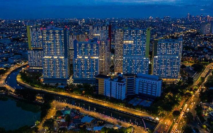 Foto aerial suasana Rumah Sakit Darurat Penanganan Covid-19 Wisma Atlet Kemayoran, di Jakarta, Kamis (28/1/2021). ANTARA FOTO - Galih Pradipta