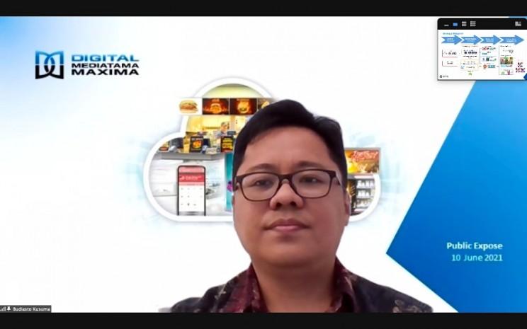 Direktur Utama DMMX Budiasto Kusuma dalam sesi Paparan Publik Insidentil secara virtual, Kamis (10/6/2021) - Dhiany Nadya Utami