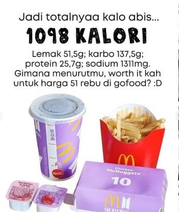 Jumlah kalori BTS Meal McD. - (@dietsantuy.id)